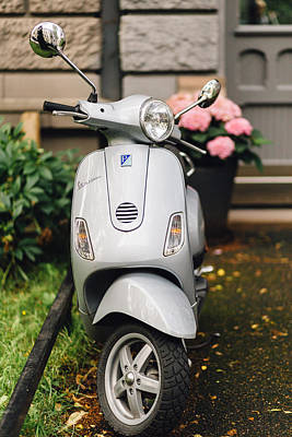 Scooter Photograph - Vintage Grey Vespa,old Fashioned Italian Motorbike, Is Parked On The Street Sideway by Aldona Pivoriene