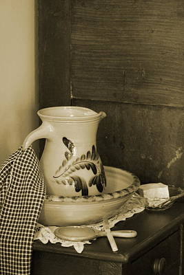 Photograph - Vintage Grooming Set And Stoneware Water Pitcher In Sepia Tones by Colleen Cornelius