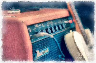 Music Photograph - Vintage Guitar Amp Watercolor by Edward Fielding