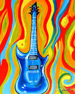 Heavy Metal Painting - Vintage Guitar by Art by Danielle