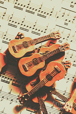 Musicians Photos - Vintage guitars on music sheet by Jorgo Photography - Wall Art Gallery