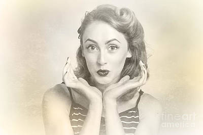 Vintage Hair Pin Up With Surprised Expression Print by Jorgo Photography - Wall Art Gallery