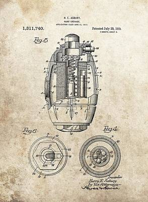 Artillery Mixed Media - Vintage Hand Grenade Patent by Dan Sproul