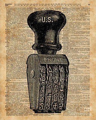 Rubber Stamps Digital Art - Vintage Handstamp Illustation Over Old Book Page by Anna Wilkon