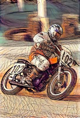 Drag Racing Mixed Media - Vintage Harley Davidson  by Douglas Sacha