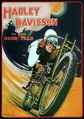 Digital Art - Vintage Harley Davidson Good Year Poster  by Bill Cannon