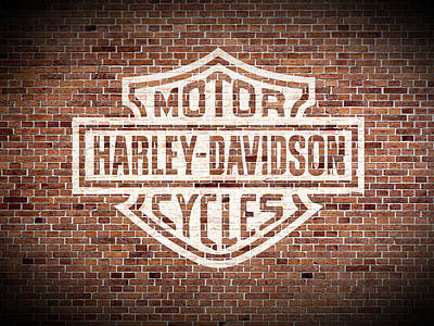 Motorcycle Wall Art - Mixed Media - Vintage Harley Davidson Logo Painted On Old Brick Wall by Design Turnpike