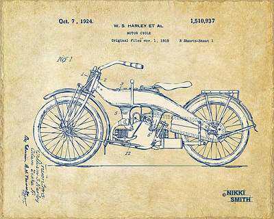 Bicycle Drawing - Vintage Harley-davidson Motorcycle 1924 Patent Artwork by Nikki Smith