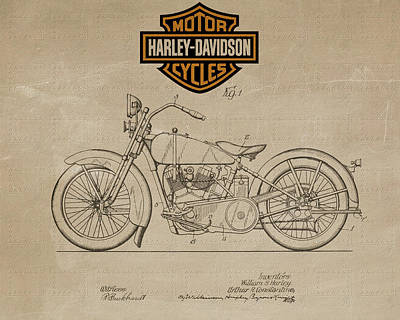 Mixed Media - Vintage Harley Davidson Motorcycle Design Metal by Dan Sproul