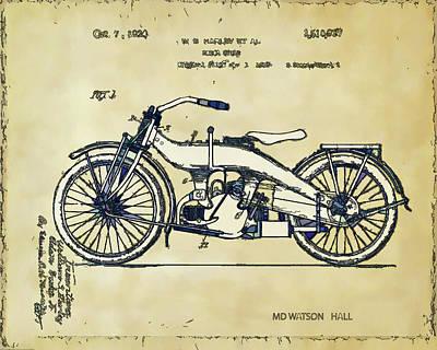 Digital Art - Vintage Harley Davidson Patent -1924 by Marlene Watson