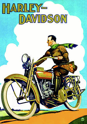 Digital Art - Vintage - Harley Davidson Poster  by Bill Cannon