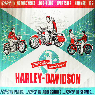Digital Art - Vintage - Harley Davidson Tops The World Over - Motorcycles Post by Bill Cannon