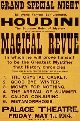 Vintage Harry Houdini Poster, Circa 1914 Art Print