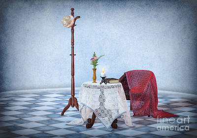 Table Cloth Digital Art - Vintage Hat On Hatrack by Jutta Maria Pusl