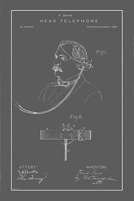 Drawing - Vintage Headphone Patent by Vintage Pix