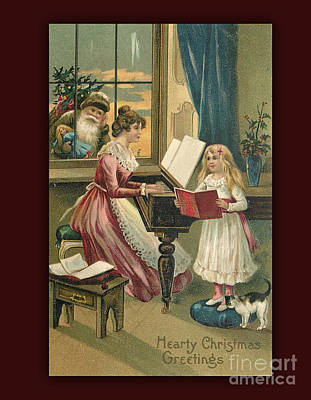 Digital Art - Vintage Hearty Christmas Postcard by Melissa Messick