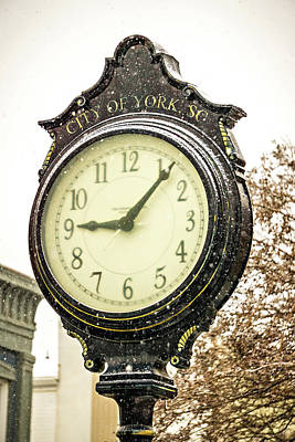 Photograph - Vintage Historic Street Clock With Snow Falling In Winter by Alex Grichenko
