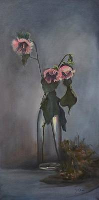 Hollyhocks Painting - Vintage Hollyhocks by Donna Tuten