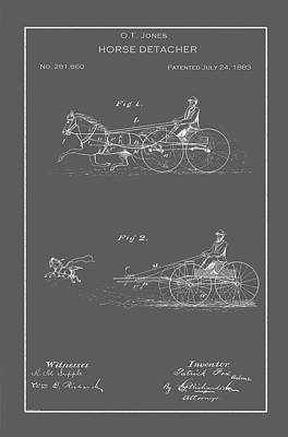 Horse And Buggy Drawing - Vintage Horse Detacher Patent by Vintage Pix