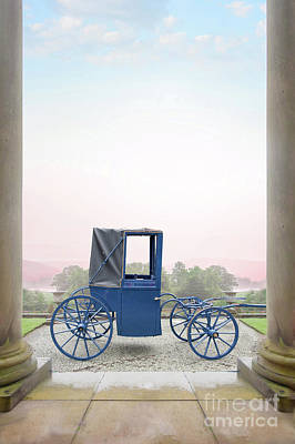 Photograph - Vintage Horse Drawn Carriage Outside A Country Mansion  by Lee Avison