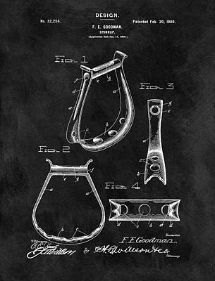Animals Drawings - Vintage Horse Stirrup Patent by Dan Sproul