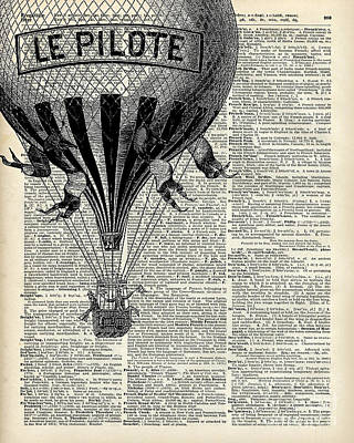 Drawing Digital Art - Vintage Hot Air Balloon Illustration,antique Dictionary Book Page Design by Anna W