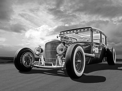 Photograph - Vintage Hot Rod In Black And White by Gill Billington