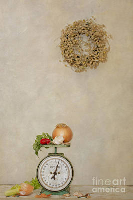 Vintage Household Scale And Vegtables Art Print