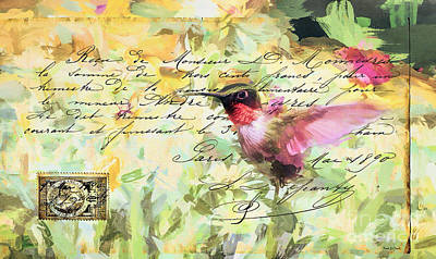 Mixed Media - Vintage Hummingbird by Tina LeCour