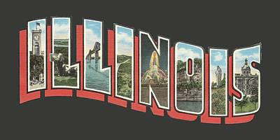 Digital Art - Vintage Illinois Big Letter Souvenir by Colleen Cornelius