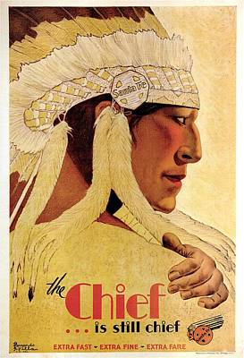 Royalty-Free and Rights-Managed Images - Vintage Illustration of an Indian Chief - The Chief is still chief - Indian Headgear - Retro Poster by Studio Grafiikka