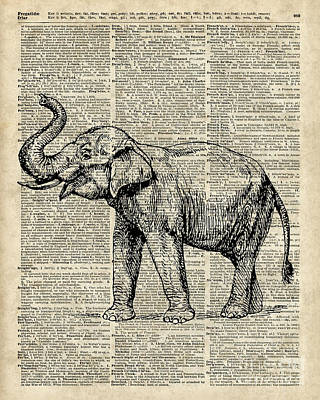 Vintage Illustration Of Happy Elephant Over Old Dictionary Book Page  Art Print