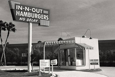 Vintage In-n-out Burger Stand, Black And White Photography  Art Print by Andy Moine