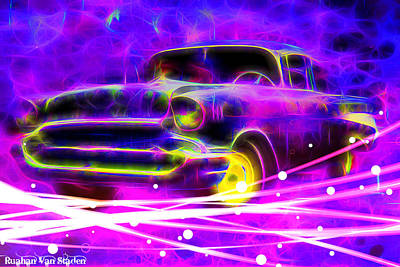 Digital Art - Vintage In Neons  by Riana Van Staden