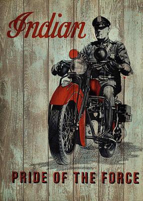 Motorcycle Mixed Media - Vintage Indian Motorcycle Barn Door by Dan Sproul