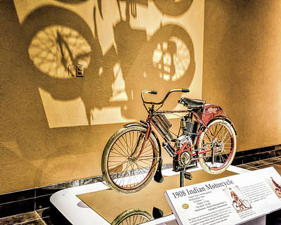 Photograph - Vintage Indian Motorcycle Display by Kathleen K Parker