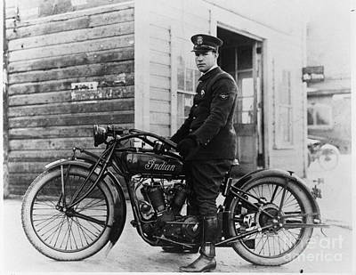 Harley Davidson Photograph - Vintage Indian Police Motorcycle by Jon Neidert