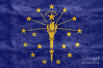Vintage Indiana Flag Art Print