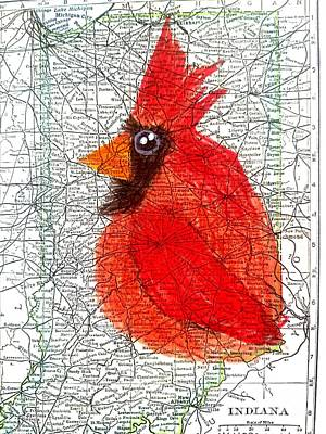 Vintage Indiana Map Cardinal  Original by Scott D Van Osdol