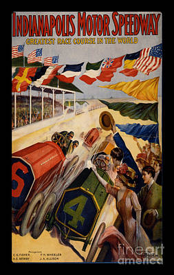 Indy Car Painting - Vintage Indianapolis Motor Speedway Poster by Edward Fielding