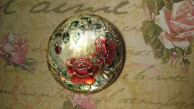 Hand Painted Pendant Jewelry - Vintage Inspired Hand Made And Hand Painted Pendant Roses by Evelina Pastilati