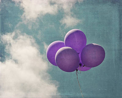 Photograph - Vintage Inspired Purple Balloons In Blue Sky by Brooke T Ryan