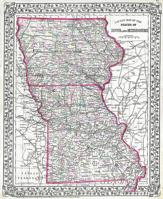 Heartland Drawing - Vintage Iowa And Missouri Map - 1874 by CartographyAssociates
