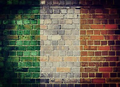 Digital Art - Vintage Ireland Flag by Steve Ball