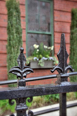 Photograph - Vintage Iron Fence And Flower Box - Boston South End by Joann Vitali