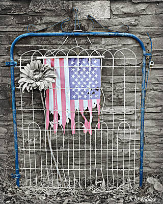 Photograph - Vintage Iron Gate With Tattered Flag by Kathy M Krause