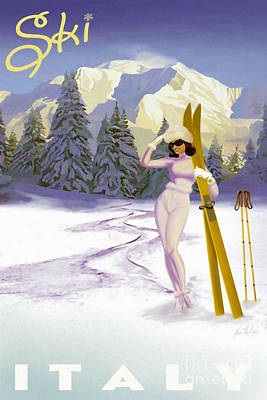 Skiing Poster Painting - Vintage Italian Ski Poster by Tina Lavoie