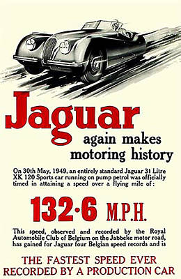 Digital Art - Vintage Jaguar Automobile Advert - Circa 1950's by Marlene Watson