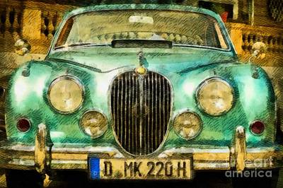 Hammond Painting - Vintage Jaguar Pop Art by John Springfield