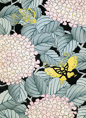 Vintage Japanese Illustration Of A Hydrangea Blossoms And Butterflies Art Print by Japanese School